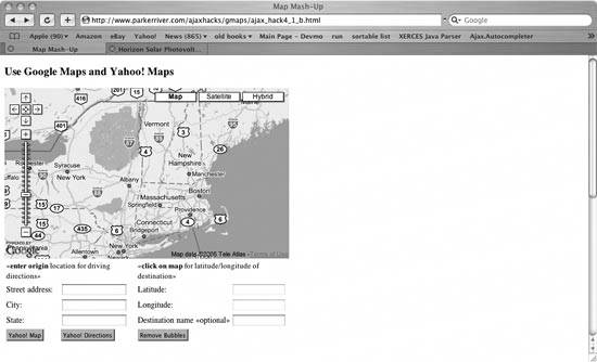 30. Use Ajax with a Google Maps and Yahoo! Maps Mash-up Driving Directions Yahoo Map on